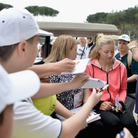 Angie leaves the media area in a cart surrounded by fans on Day One of The Internazionali BNL d'Italia 2016 // Source: Dennis Grombkowski/Getty Images Europe