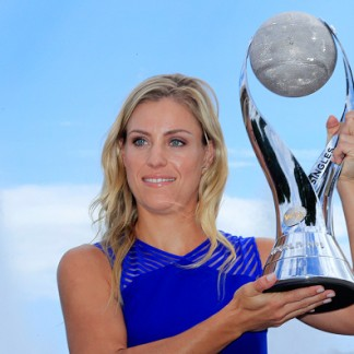2016 U.S. Open - Day 14  US Open women's singles champion Angelique Kerber with the WTA Wold Number One trophy. (Photo by Tim Clayton/Corbis via Getty Images)