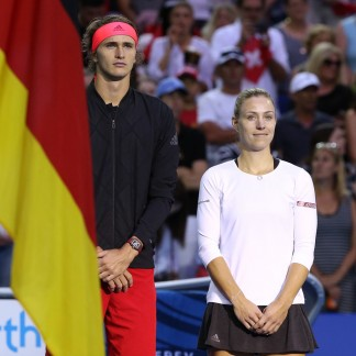 Alexander Zverev and Angelique Kerber of Germany stand for the national anthems // Getty Images