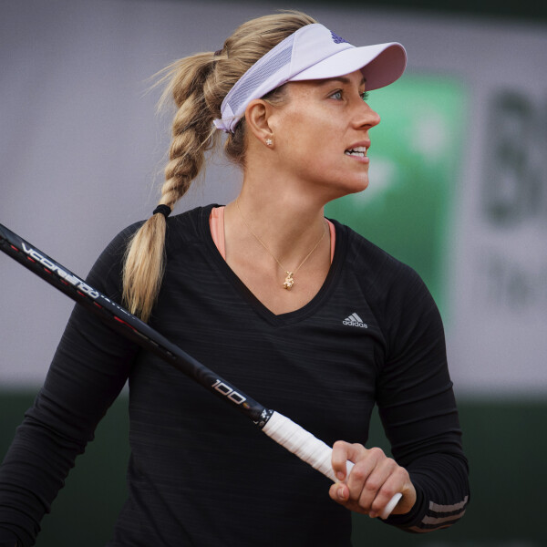Angelique Kerber of Germany during practice before the start of the 2020 Roland Garros Grand Slam tennis tournament